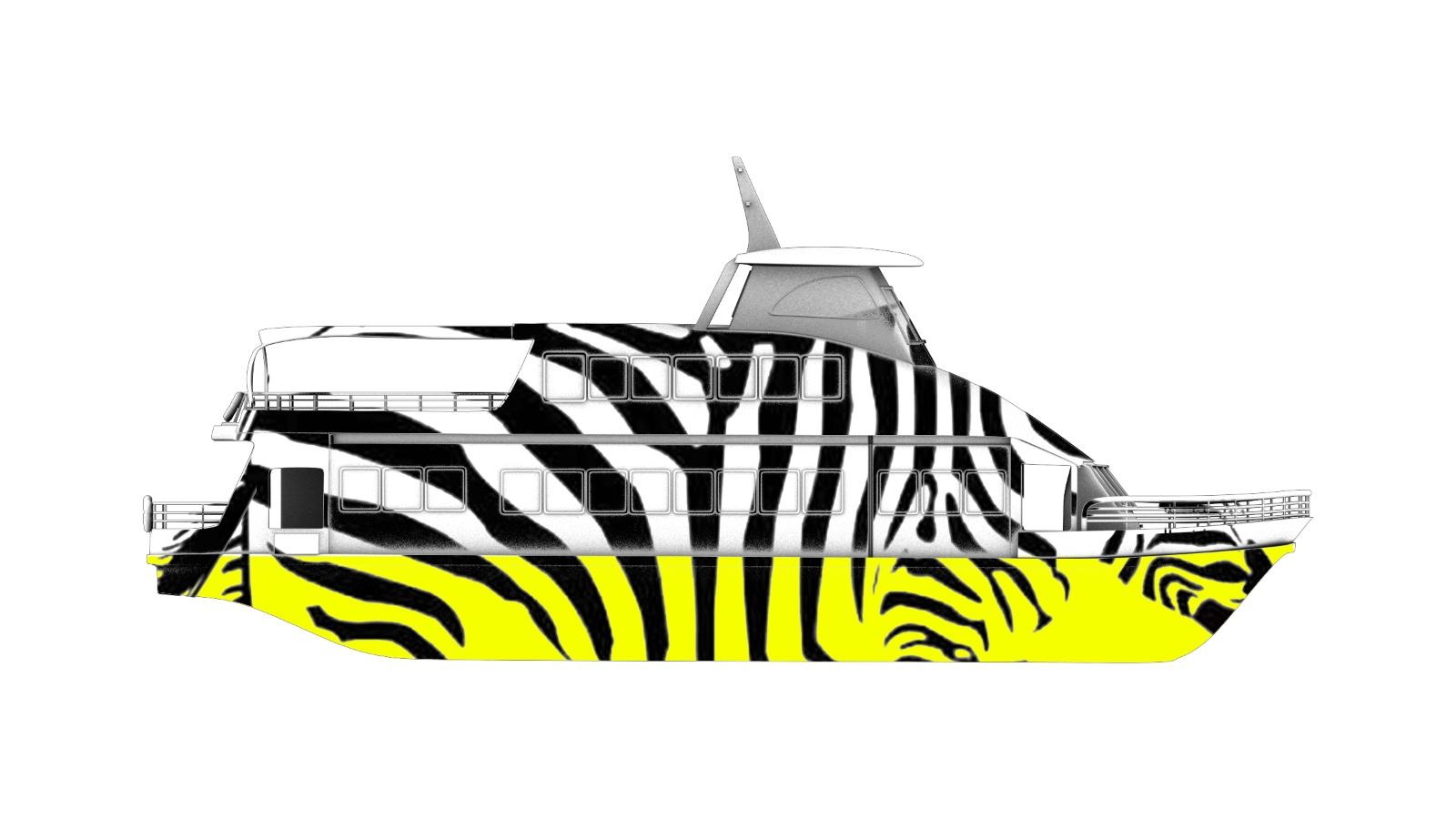 使用斑马的黑白条纹设计的船身喷绘贴图白色部分用自发光涂料